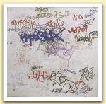 BARRILE  PAOLO - SCRITTURA BLU DI OLTREMARE 2005 acrilici su tela cm 100 x 100.jpg