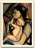 Maternita`, 1950,  tempera su carta, cm 70x50.JPG